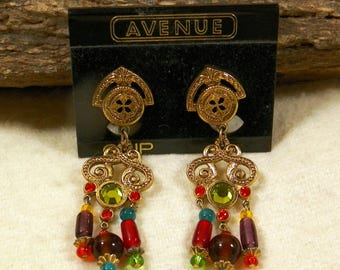 Vintage Multi-Color Robt Rose Clip Earrings-Gypsy Festive BoHo Hippy Girl Dangle Costume Jewelry