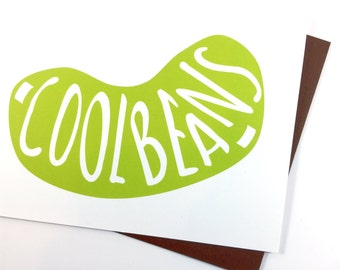 Cool Beans Congratulations Card, Celebration Greeting Card, Expectant Parent Pregnancy Card Cute Card for Baby, Funny Card All Occasion Card