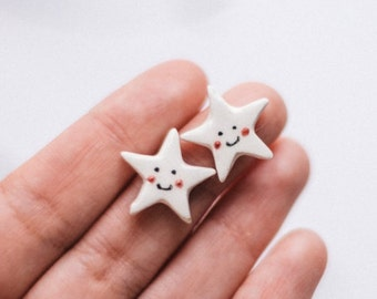Stars stud earrings. Ceramic stars earrings. Cute stars earrings. Handmade ceramic earrings. Ceramic star haindpainted