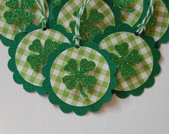 Sparkle Plaid Shamrock Tags-Set of 10-Shamrock-Four Leaf Clover-St Patricks Day-Irish Wedding-Favor Tag-Clover-Kids-Gift Tag-Ready to Ship