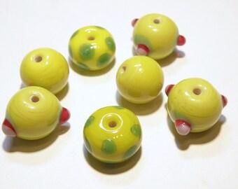 DESTASH --- Seven (7) Coordinating Assorted Lampwork Glass Beads: Citrus Yellow and Green --- Lot 3L