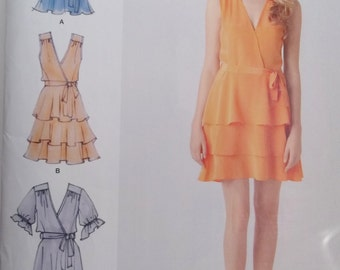 Simplicity 1872 Misses' Tiered Skirt Dress Sewing Pattern Cynthia Rowley V Neck Belted Blouse with Ruffle Hem Wrap Bodice  Size 6 - 14 UNCUT