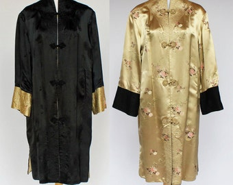 Vintage Reversible Satin Coat / Black and Gold / Frog Closures / Asian Styled Coat / Brocade / Small to Medium