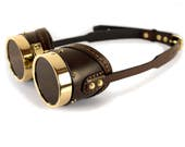 STEAMPUNK GOGGLES brown leather polished brass SMPL v.2