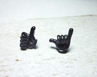 Hand Sign Stud Earrings, Black Hand Earring