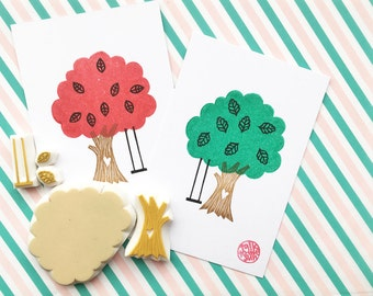 love tree stamp set, tree swing stamps, leaf stamps, woodland hand carved stamps, birthday baby shower crafts for any seasons, set of 5