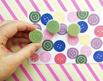 sewing button stamps. button hand carved rubber stamp. diy birthday mother's day gift wrapping. holiday crafts. set of 3. medium. no2