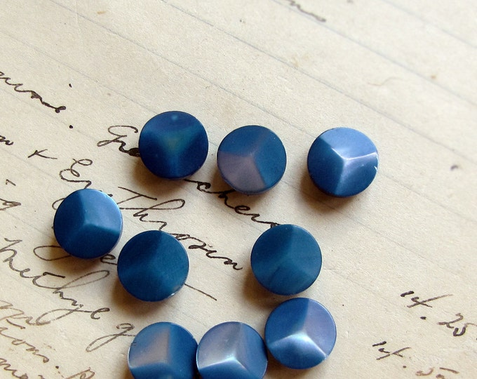 vintage mother of pearl doll buttons - indigo blue with a pretty shimmer - 10mm - 9 buttons