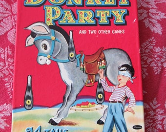Vintage Whitman Pin The Tail on the Donkey Party Game for 24 4108-15 Complete