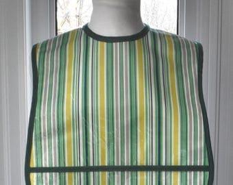 Awning Stripe - vinyl covered regular size adult bib with pocket