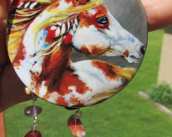Over Paint Pinto Hand Painted Horse Necklace With Stones Equestrian Jewelry Western Art