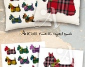 2 Printable Digital Sheets SCOTTISH TERRIER  downloadable Images to print on fabric or paper, Iron On Transfer for totes t-shirts pillows