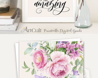 ArtCult printable artworks YOU ARE AMAZING inspiration quote, watercolor art, digital print instant download for home and office decoration