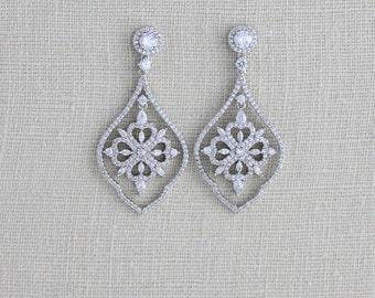 Crystal Bridal earrings, Rhinestone Wedding earrings, Swarovski crystal earrings, Bridal jewelry Bridesmaid earrings Cubic zirconia earrings