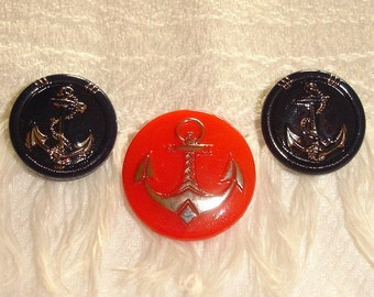 Vintage Blue and Red Glass Buttons with Silver Luster Anchors