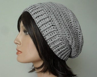Hemp Slouchy Hat knit look crochet slouchy hat hemp tam handmade unisex men women pale grey Ready to Ship