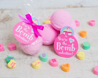 printable Valentine bath bomb gift tag INSTANT DOWNLOAD You're the BOMB valentine easy print at home unique valentine's day pink gift tags