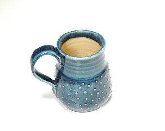 Pottery teal mug,Large handle mug,large ceramic mug,polka dot mug,coffee mug 16oz,pottery coffee cup,wide bottom mug,