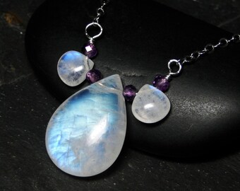 """Rainbow Moonstone Necklace, Amethyst, Sterling Silver - """"Moonlight"""" by CircesHouse on Etsy"""