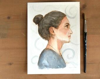 girl with bun profile watercolor painting romantic  wall art decor