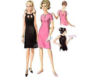 60s Sleeveless Cocktail Dress Pattern Simplicity 6838, Vintage Peek a Boo Sheath Dress Sewing Pattern, Uncut