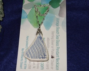 Memories of Newfoundland Pottery Shard Necklace with Sterling Silver Chain Made in Newfoundland Blue White Stripes