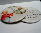 Coasters - Upcycled Puff and Baby from vintage Dick and Jane book Recycled into a Set of Two Coasters