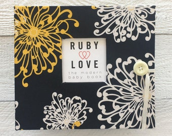 BABY BOOK | Black & Yellow Floral Burst Baby Book | Modern Baby Memory Book