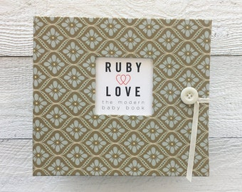BABY BOOK | Vintage Blue and Beige Mosaic Album - Baby Memory Book