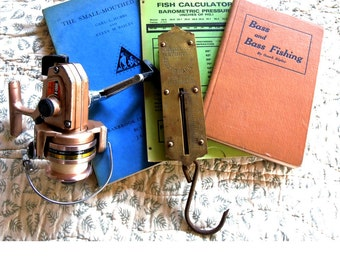 Junk Drawer Fishing Stuff - Spinning Reel - Vintage Scale - Bass Fishing - Weights, Bobbers, Etc,
