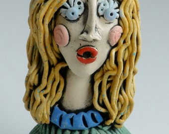 FEMALE SCULPTURE, Green and Blue, Clay Sculpture, Clay Female Sculpted Figure, handmade, Clay Figurine, Clay People, Handmade Clay Sculpture