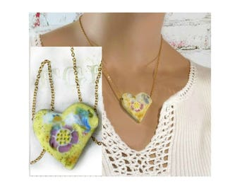 yellow Heart necklace - 2 sided heart necklace -  unique necklace - Pendant necklace - one of a kind necklace - gift necklace  # 162