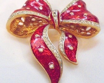 Bright Red Enamel Rhinestone Holiday Bow - Signed Craft