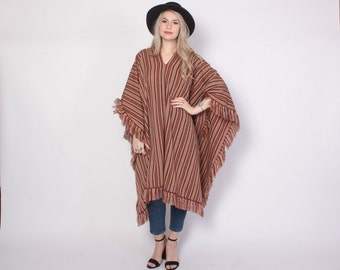 Vintage 70s PONCHO CAPE / 1970s Striped Mexican Blanket Style Fringe Cape