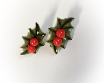 Vintage Holly Berry and Leaves Earrings Screw Backs
