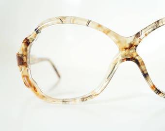 1970s Retro Eyeglasses Women's Vintage Oversized 70s Seventies Golden Girls Chic Granny Mottle Apricot Orange Black Sunglasses Sunnies