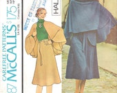 McCalls 4387 UNCUT 1970s Halston Skirt and Cape Sewing Pattern Designer Pattern Size 14