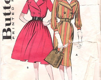 Butterick 9169 1960s Double Breasted Dress with Two Skirts Vintage Sewing Pattern Bust 34 Shirtdress Slim Skirt Full Skirt Size 14