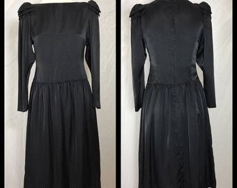 Hanae Mori 1980s Designer Dress in Tiny Dot White on Black with Dropped Waist and Shoulder Bows - Size Small