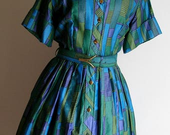 Vintage 50's Polished Cotton Blue Green and Purple Atomic Shirtwaist Dress size large