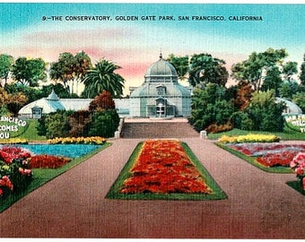 Vintage California Postcard - The Conservatory of Flowers in Golden Gate Park, San Francisco (Unused)