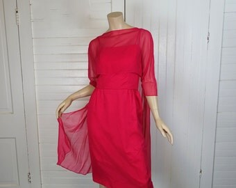 60s Mod Magenta Cocktail Dress & Chiffon Jacket- 1960s Berry Red Cape Dress- Small- Party Formal Prom Wiggle Dress