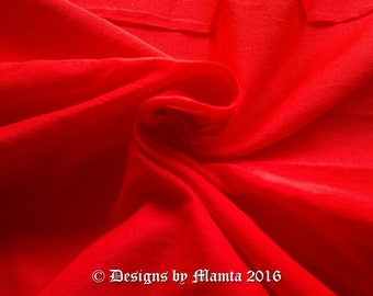 Crimson Red Dupioni Fabric By The Yard, Candy Red Art Silk Fabric, Bridal Silk Fabric, Designer Silk Fabrics, Silk Dupioni Fabric, Art Silk