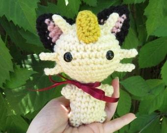 READY TO SHIP - Crochet - Chibi Pokemon Amigurumi - Meowth. Pokemon Crochet. Pokemon Plush. Team Rocket Cosplay prop. Pokemon Go. Anime. Cat