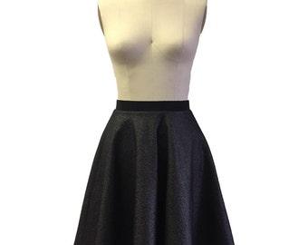 Circle Skirt / Holiday Fashion / Metallic skirt / Metallic Fashion / Holiday Party / Holiday Skirt / Gunmetal / Ecofriendly / Artella Skirt