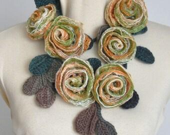 BELLA - Orange Green Cream - Handmde Rose Crochet Leaf Lariat