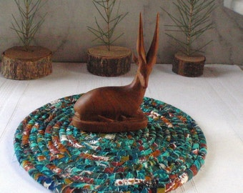 Teal Green, Brown and White Hot Pad, Trivet, Table Mat - Small Round - Handmade by Me