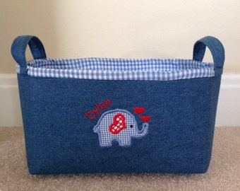 Personalized fabric storage bin or basket. Valentines day. Denim basket with blue or pink gingham.
