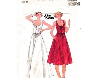 1970s John Kloss  Dress Pattern Butterick 4810 Scoop Neck Sundress Zipper Front Maxi Dress Pockets Womens Sewing Pattern Size 8