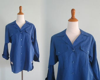 Gorgeous 80s Yves Saint Laurent Bright Blue Linen and Cotton Blouse - Vintage Oversized YSL Blue Blouse - Vintage 1980s Blouse M L nos nwt